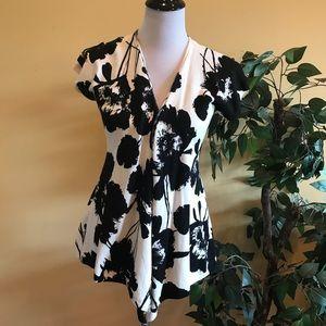 Willi Smith Black & White Short Sleeve Sweater Med